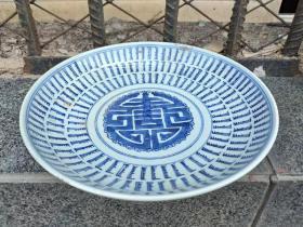 民窑精品,青花手绘万寿无疆盘。18厘米。