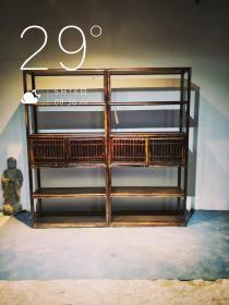 老榉木文房书架一对,    材质   榉木,单个尺寸  高200,宽100,厚35,     整体素简典雅,可置雅室,会所,书房,文人雅士空间陈设。      特价
