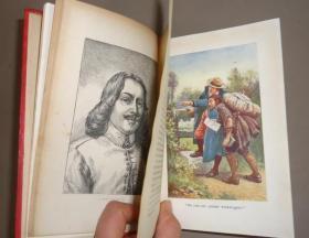 1890 - JOHN BUNYAN - PILGRIMS PROGRESS -  约翰•班扬《天-路-历-程》红色彩绘布面古董书 著名丹泽尔兄弟绘本 精美套色版画插图