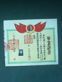 8开,1955年,有毛像,登记像,苏州市大民《毕业证书》