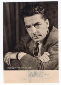 """""""指挥帝王"""" 卡拉扬(Herbert von Karajan) 1958年亲笔签名照 精品签名"""