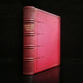 1865年,插图版《朗费罗诗歌集》1册全,23*17.5*4cm,摩洛哥全皮外封,三口刷金,