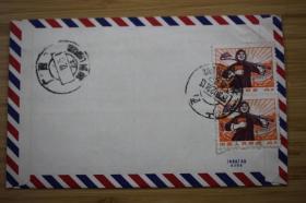 1970年文革敬祝封 桂林寄柳州 普无号4分农民双连 广西大戳实寄封