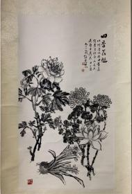 邓怀农  四季花魁85/46cm 立轴