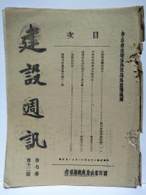 1938年 《建设周讯》第7卷第12期 四川省建设厅 卢作孚 四川省农情报告第11期 日军轰炸成都太平寺机场 马边屯殖调查报告