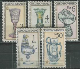 捷克斯洛伐克邮票 1985年 玻璃制品 工艺品 雕刻版 5全新