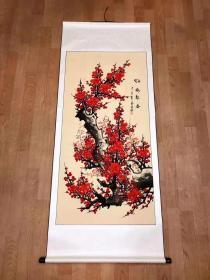 已装裱卷轴,四尺红梅,特惠,喜欢速度4