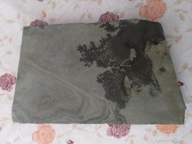 天然古木森林祥云松花石摆件奇石装饰品观赏石 茶台 36×20.5×2.5cm