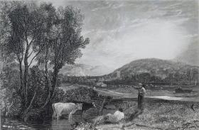 """1879年""""透纳风景系列""""钢版画《鲁尔沃斯城堡》  ——英国最伟大的画家"""" 威廉 透纳J.M.W. Turner(1775—1851)""""作品 版画家:G.COOKR 雕刻 尺寸:36x26cm"""
