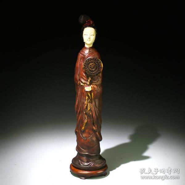 清老漆器工藝精美嵌珍貴材質美女蒲扇擺件
