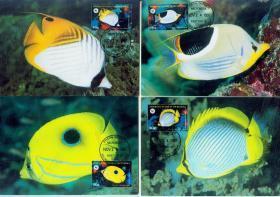 美属密克罗尼西亚 1997 海洋生物 珊瑚鱼 WWF 极限片4全