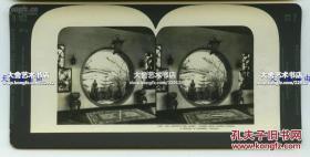 清末民国立体照片-芝加哥百年进步博览会中国馆内景月亮门建筑