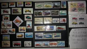 一组外国汽车、火车、机车、自行车、轮船等交通车船类主题邮票100张、票面精美,无重复!请注意图片及说明.