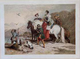 """1851年彩色版画《一起放鹰》 ——""""EDWIN LANDSEER""""作品 尺寸:32x24cm"""