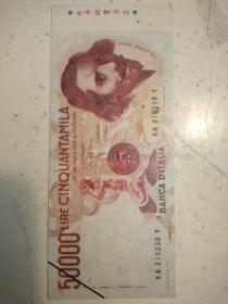 437。外币欣赏书签。意大利里拉。