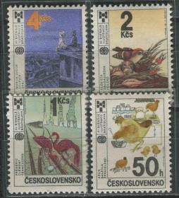 捷克斯洛伐克邮票 1987年 国际儿童图书插图展 雕刻版 4全新
