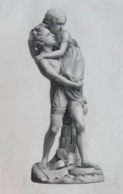 """1856年点刻雕塑钢版画《保罗和维吉尼亚》 ——""""E.ROFFE""""雕刻 尺寸:32x24cm"""