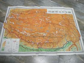 【五十年代老版地图】《西藏区地形挂图》(大型)少见!