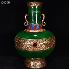 清雍正年翡翠绿釉镶宝石雕刻古铜双耳瓶