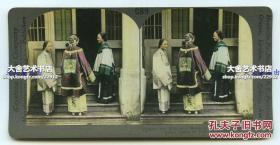 清末民国时期手工上色银盐立体照片---清代着华丽服装的高级中国贵妇与她的朋友们,广东人