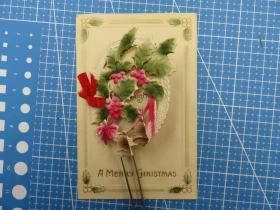 美国1910年--翻页式--圣诞树叶图--圣诞祝福-手写--圣诞节贺卡明信片(65)-收藏集邮绘画-复古手账素材-外国邮政-明信片