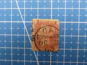 1854年英国发行双灯红便士(有齿)邮票--DH--销1863年邮戳--邮票1张(8)