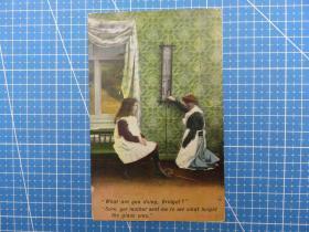 欧洲1910年-对话的男人和女孩图--问候祝福--问候贺卡空白明信片(91)-收藏集邮绘画-复古手账素材-外国邮政-明信片