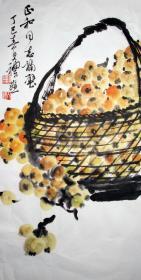 钱大礼 花鸟中堂 枇杷 手绘国画作品装饰收藏