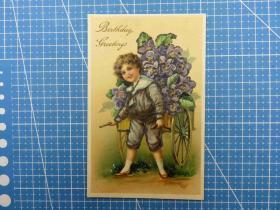 美国1910年--凸版浮雕--闪光粉--男孩拉花车图--生日祝福-手写--生日贺卡明信片(43)-收藏集邮绘画-复古手账素材-外国邮政-明信片