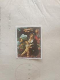 外国邮票 娃娃要吃奶图案