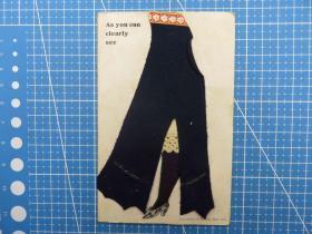 欧洲1910年-剪布式--布与大腿图-语:如您所见---问候祝福贺卡空白明信片(72)-收藏集邮绘画-复古手账素材-外国邮政-明信片