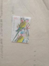 外国邮票 鹦鹉夫妻图案