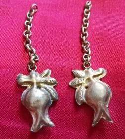 老古董纯银胎鎏金 带链条石榴果子寓多子多福吊挂件一对2件 清代老银器保真品Y44