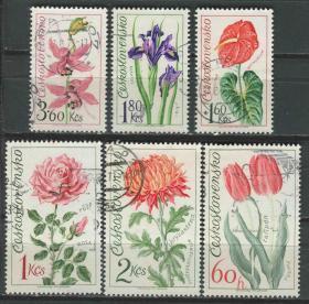 捷克斯洛伐克邮票 1973年 花卉 郁金香 百合 兰花 马蒂莲 菊花等 雕刻版 6全信销
