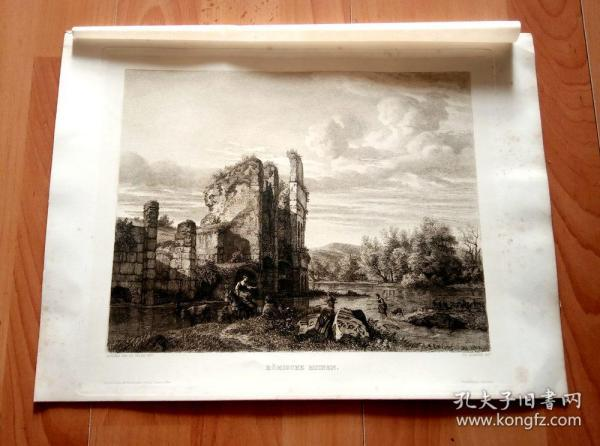 老蚀刻《河畔的古罗马城堡遗迹》(R?MISCHE RUINEN)-- 出自17世纪荷兰黄金时期的风景画家, 阿德里安·凡·德·维尔德(ADRIAEN VAN DE VELDE)的艺术作品 -- 纸张尺寸38.5*28.7厘米