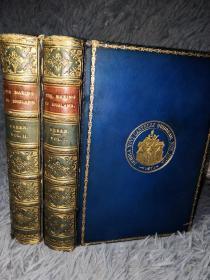 1904年  THE MAKING OF ENGLAND BY RICHARD GREEN  2本全  含地图 全皮装帧 三面书口蓝色花纹  烫金竹节书脊 饰金封面  17X12.5CM
