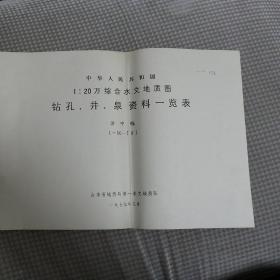 中华人民共和国1:20万综合水文地质图钻孔、井、泉资料一览表 济宁幅
