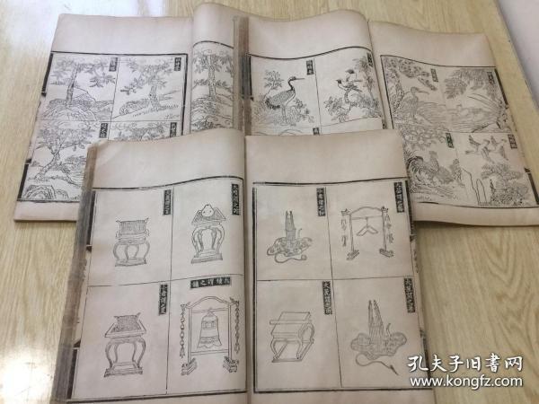 清代版畫《爾雅音圖》3厚冊全;內收圖版百余幅,大開本;尺寸:?33 × 22