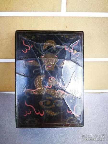 老漆盒黑漆描金添彩龙纹墨盒古玩漆器