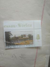 外国邮票 散步的三个人图案