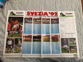 原版足球海报 92欧洲杯参赛队简介
