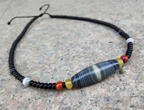 至纯天珠锁骨链,天珠项链,古朴神韵沧桑自然包浆醇厚沁色自然鬼斧神工是天珠中的神品收藏之珍品