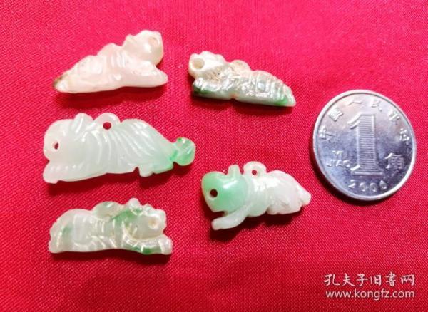 旧玉制品 胸颈佩戴小老虎十二生肖动物玉器吊挂件坠子 保真品玉件饰品Y5