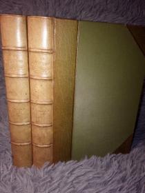 ROMOLA 《罗慕拉》 2本全 THE WORKS OF GEORGE ELIOT  乔治•艾略特(George Eliot)  私坊DENNY 3/4真皮装帧  三面书口浅蓝色花纹  18.2X13CM