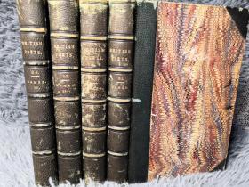 1822年 HOMERS ILIAD 和 ODYSSEY 4本全 THE BRITISH POETS INCLUDING TRANSLATIONS 3/4真皮装帧  每本均有一副藏书票  书顶刷金 17X11.5CM  竹节书脊