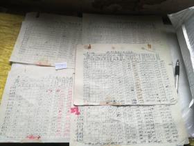 历史文献1957年壹到肆中队秋季粮食分配计算表九张合售,有几张粘在一起