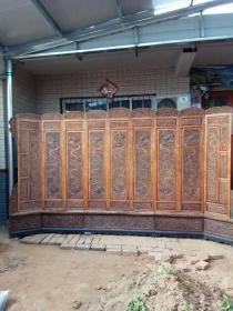 清代黄花梨雕龙屏风一套古董传世明清家具木器