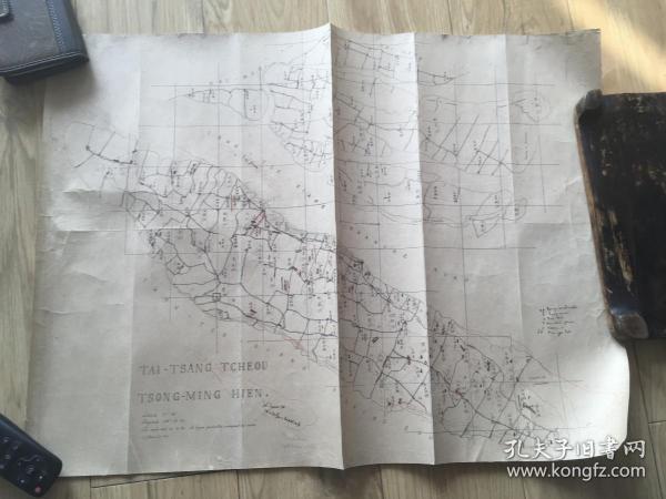1879年清代石印地图 太仓 崇明 教堂分布图  为当时传教士手绘地图  一张 包老包真