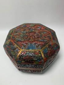老漆器手工绘彩八角棱形盒子