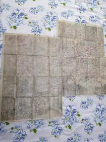 《锦州老地图》全图由锦州附近图一和锦州附近图二拼接而成,如图所示,全图开幅大90*100CM,日本陆军军官学出版。锦州地理地名历史变迁史料。本店日本拍回。